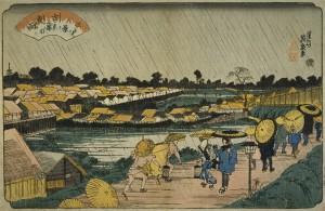 江戸八景 「吉原夜の雨)」 (渓斎英泉 江戸後期)