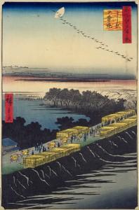 ④名所江戸百景 よし原日本堤 (広重)