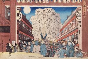 「北廓 月の夜桜」歌川国貞(三代豊国 幕末期)
